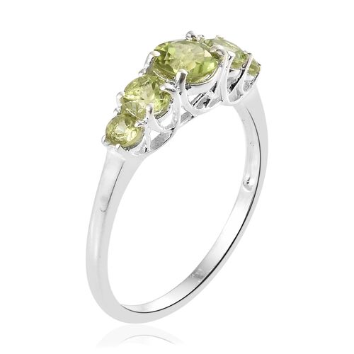 Hebei Peridot (Rnd) 5 Stone Ring in Sterling Silver 1.750 Ct.