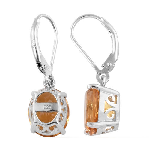 Citrine (Ovl) Earrings with Lever Back in Platinum Overlay Sterling Silver 6.500  Ct.