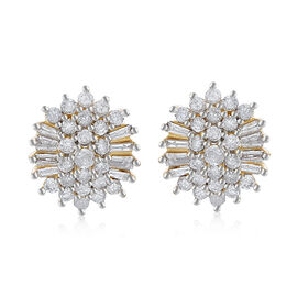 9K Y Gold SGL Certified Diamond (Rnd) Cluster Earrings 1.000 Ct.