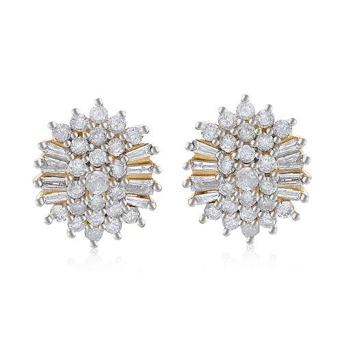 9K Y Gold SGL Certified Diamond (Rnd) Cluster Earrings 1.000 Ct.