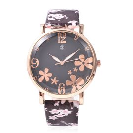 STRADA Japanese Movement Water Resistance Floral Motif Adorned Watch - Chocolate