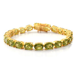 27.20 Ct Hebei Peridot Tennis Bracelet Size 7 in Gold Plated Silver 12.50 Grams