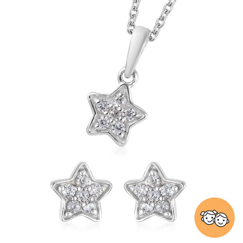 2 Piece Set Zircon Star Pendant for Kids with 20 Inch Chain and Stud Earrings in Platinum Plated Ste