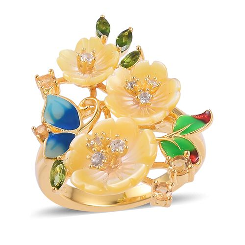 Jardin Collection - Yellow Mother of Pearl, Citrine, Russian Diopside and Multi Gemstone Enameled Bunch of Buttercup flower Ring in Yellow Gold Overlay Sterling Silver