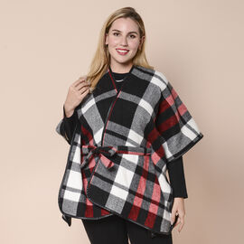 LA MAREY White, Black and Red Plaid Pattern Kimono with Faux Leather Belt (103x83cm)