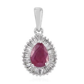 9K White Gold AA African Ruby (Pear), Diamond Pendant 1.250 Ct.