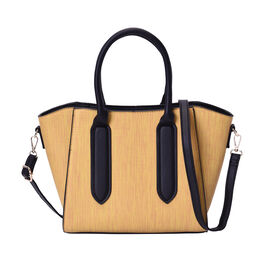 Yellow Stylish Tote Bag with Zipper Closure and Adjustable Shoulder Strap (Size 27x14x24cm)