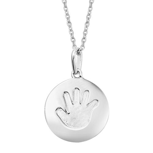 Child Handprint Pendant With Chain in Platinum Plated Silver