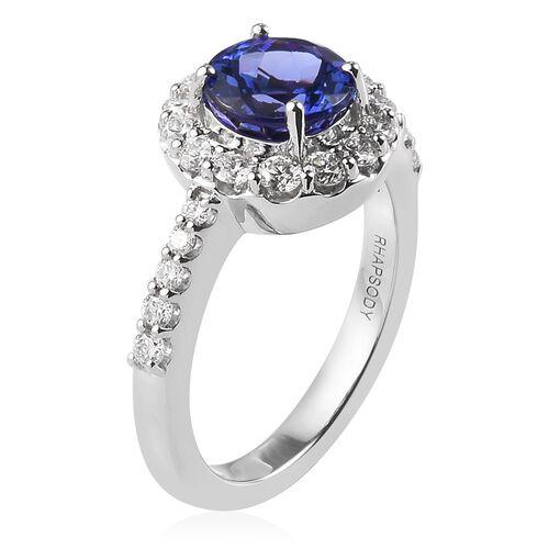 Rhapsody AAAA Tanzanite (1.00 Ct) and Diamond 950 Platinum Ring  1.680  Ct.