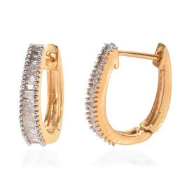 Diamond (Bgt) Hoop Earrings (with Clasp) in 14K Gold Overlay Sterling Silver 0.505 Ct.