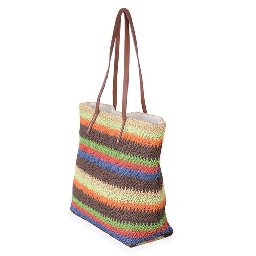 St. Tropez Collection- Green and Rainbow Colour Stripe Woven Pattern Straw Tote Beach Bag (Size 47x37x34x15.5 Cm)