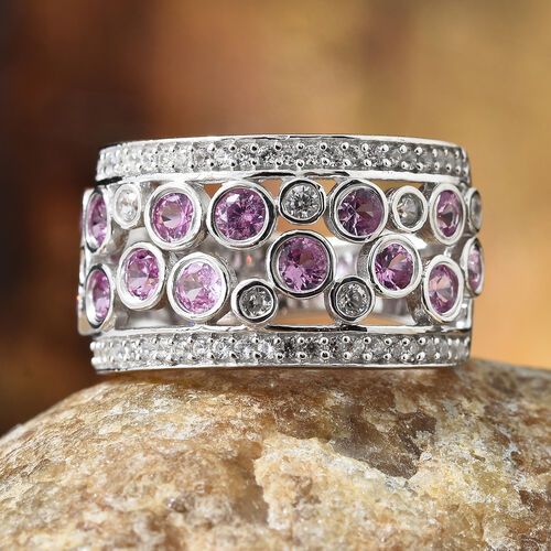 Pink Sapphire (Rnd), Natural Cambodian Zircon Ring in Platinum Overlay Sterling Silver 2.350 Ct.