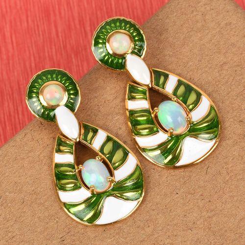 AA Ethiopian Welo Opal Enamelled Earrings (with Push Back) in 14K Gold Overlay Sterling Silver 1.50 Ct, Silver wt 7.91 Gms