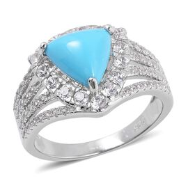 New York Close Out-  Arizona Sleeping Beauty Turquoise (Extremely Rare Shape Trillion), Natural Whit