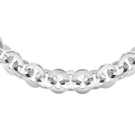 Circle Link Necklace in Platinum Plated Sterling Silver 16 Inch