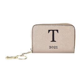 Genuine Leather Alphabet T Wallet with Engraved Message on Back Side (Size 11X7.5X2.5 Cm) - Gold