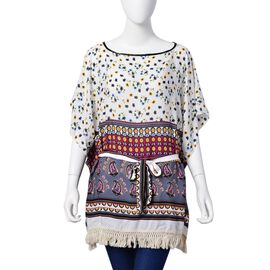 White, Grey and Multi Colour Floral and Paisley Pattern Apparel with Adjustable Waistband (Size 70X6