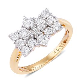 Super Auction- ILIANA 18K Yellow Gold IGI Certified Diamond (Rnd and Bgt) (SI/ G-H) Boat Cluster Rin
