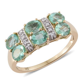 1.98 Ct Emerald and Cambodian Zircon Cluster Ring in 9K Gold 2.79 Grams