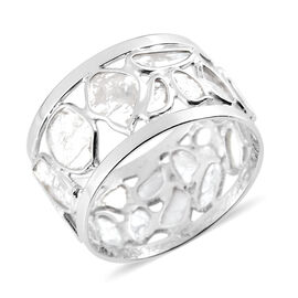Artisan Crafted Natural Polki Diamond Ring in Platinum Overlay Sterling Silver 1.60 Ct.