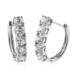 J Francis 2.50 Ct Made with SWAROVSKI ZIRCONIA Hoop Earrings with Clasp in Platinum Plated Silver