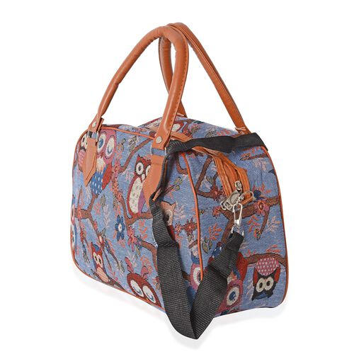 Jacquard Light Weight  Owl Pattern Tote Bag with Removable Shoulder Strap (Size 35x23x13.5 Cm)