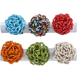 Set of 6 - Turquoise, Coral, Green and Multi Colour Beads Stretchable Ring