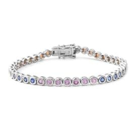 5.69 Ct Multi Sapphire Tennis Bracelet in Rhodium Plated Sterling Silver 12 Grams 7.5 Inch