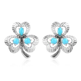 1.62 Ct Arizona Sleeping Beauty Turquoise and Shamrock Leaf Stud Earrings in Platinum Plated Silver