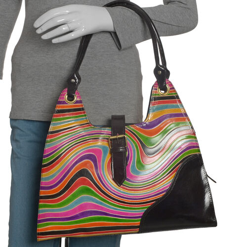 Limited Collection 100% Genuine Leather Multi Colour Hand Printed Waves Pattern Shoulder Bag (Size 40x35 Cm)