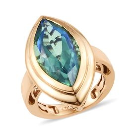 Peacock Quartz (Mrq 20x10 mm) Ring in 14K Gold Overlay Sterling Silver 7.750 Ct.