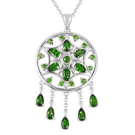 LucyQ Russian Diopside (Pear and Rnd) Dream Catcher Necklace (Size 20) in Rhodium Overlay Sterling S
