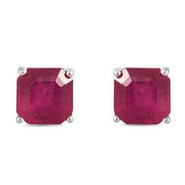 African Ruby Asscher Cut Stud Earrings in Sterling Silver 3.05 Ct.
