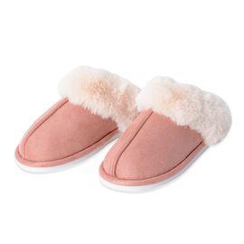 Super Soft Suede Faux Fur Slippers (Size M: 5-6 ) - Peach