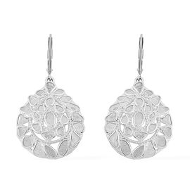 Artisan Crafted Polki Diamond Lever Back Earrings in Sterling Silver 2.80 Ct, Silver wt. 7.32 Gms