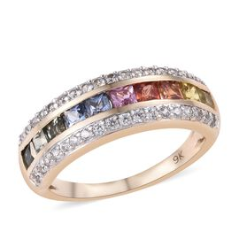 9K Yellow Gold AAA Rainbow Sapphire (Princess), Natural Cambodian Zircon  Ring 2.000 Ct.Gold Wt 3.00