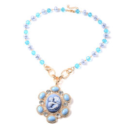 Blue Howlite, Simulated Diamond, Simulated Blue Topaz and White Austrian Crystal and Vintage Style C