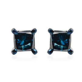 9K White Gold Blue Diamond (Sqr) Stud Earrings (with Push Back) 0.40 Ct.