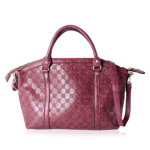 Designer Inspired- Berry  Colour Rose Embossed  Tote Bag with Removable Shoulder Strap (Size 41x31.5