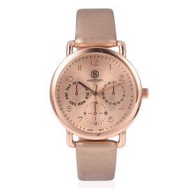STRADA Japanese Movement Three Eye Chronograph Look Water Resistant Watch with Rose GoldStrap