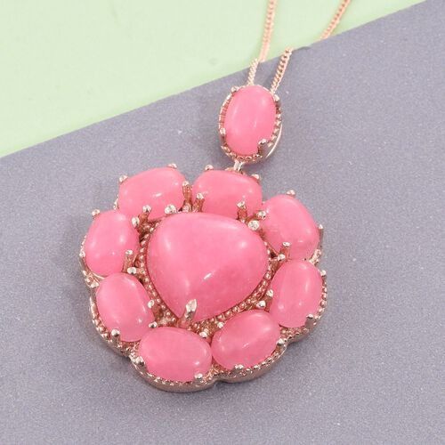 Pink Jade (Hrt 6.75 Ct) Pendant With Chain in Rose Gold Overlay Sterling Silver 16.500 Ct. Silver wt 5.87 Gms.