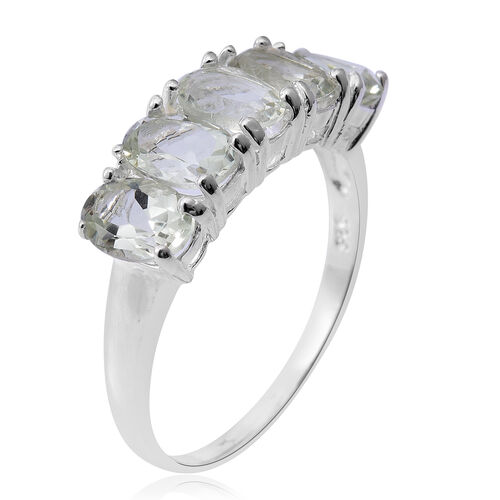 Green Amethyst (Ovl) 5 Stone Ring in Sterling Silver 3.250 Ct.