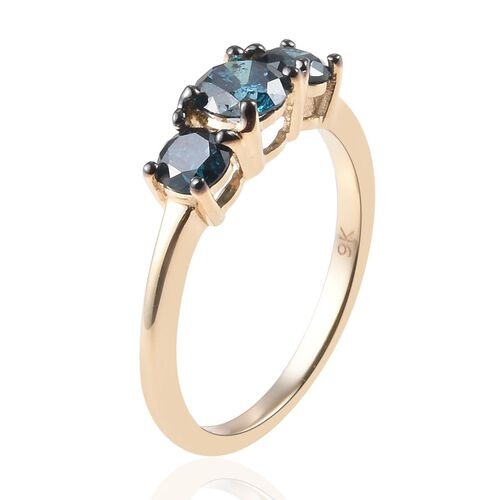 9K Yellow Gold Blue Diamond (Rnd) Trilogy Ring 1.01 Ct.