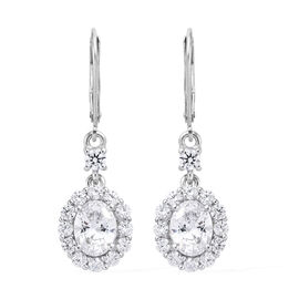 Made with Swarovski Zirconia Drop Earrings in Platinum Plated Sterling Silver