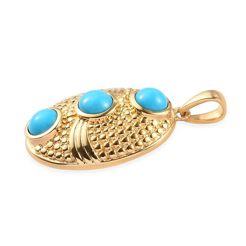 Arizona Sleeping Beauty Turquoise Pendant in 14K Gold Overlay Sterling Silver 1.50 Ct.
