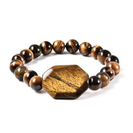 SUPER FIND Yellow Tigers Eye Stretchable Beads Bracelet (Size 7.5) 175.50 Ct.