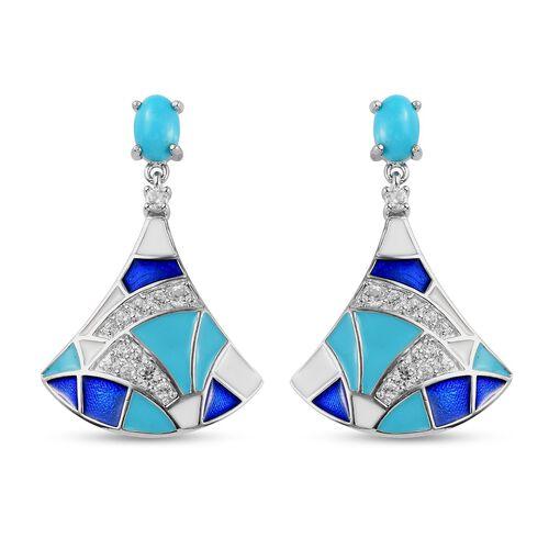 Arizona Sleeping Beauty Turquoise and Natural Cambodian Zircon Enamelled Dangling Earrings (with Pus