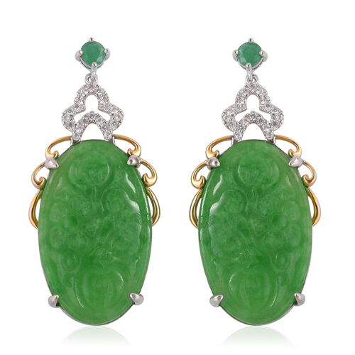 Hand Carved Green Jade Ovl Zambian Emerald And Natural