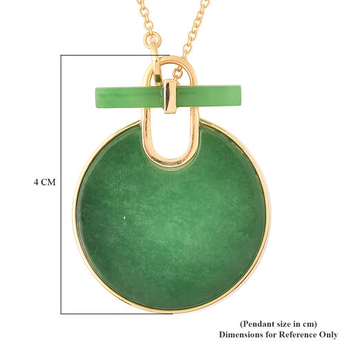 Green Jade Necklace (Size 18) in Yellow Gold Overlay Sterling Silver 28.00 Ct, Silver wt. 6.31 Gms