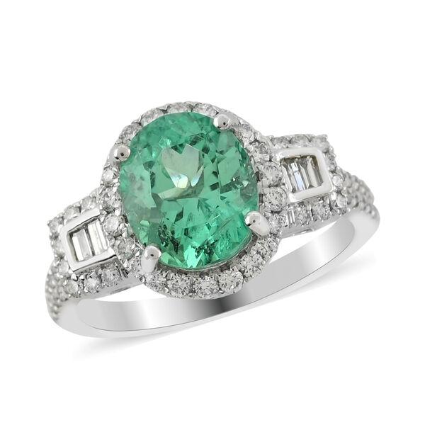 RHAPSODY 950 Platinum AAAA Boyaca Colombian Emerald and Diamond (VS/E-F) Ring 3.15 Ct, Platinum wt.